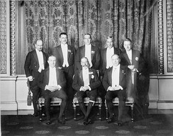 George V with his prime ministers at the 1926 Imperial Conference. The Balfour Declaration was issued at the conference, which saw the governors general end their relation with the British government, and serve only as the representative of the Monarch.