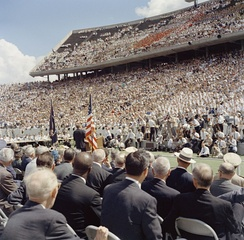 The crowd at Rice University watching Kennedy's speech