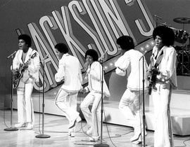 The Jackson 5 in 1972, from left to right: Tito Jackson, Marlon Jackson, Michael Jackson, Jackie Jackson, and Jermaine Jackson