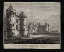 Engraving of Holy Rood Palace by Thomas Hearne, drawn in 1778, engraving published 1800 ...