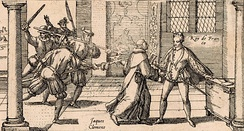 Jacques Clément, a supporter of the Catholic League, assassinating Henry III in 1589