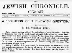 "The Jewish Chronicle promoting Herzl's Judenstaat as ""a 'solution of the Jewish question.'"""