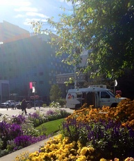 KTUU news van parked at Town Square Park.