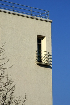 Typical railing, flat roof, stucco and colour detail in Nordic funkis (SOK warehouse and offices, 1938, Finland)