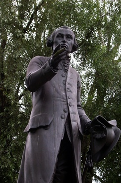 Statue of Immanuel Kant in Kaliningrad (Königsberg), Russia. Replica by Harald Haacke [de] of the original by Christian Daniel Rauch lost in 1945.
