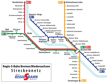 Map of the Bremen S-Bahn