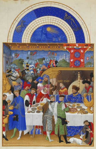 Page from the calendar of the Très Riches Heures showing the household of John, Duke of Berry exchanging New Year gifts. The Duke is seated at the right, in blue.