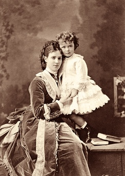 Nicholas II as a child with his mother, Maria Feodorovna, in 1870