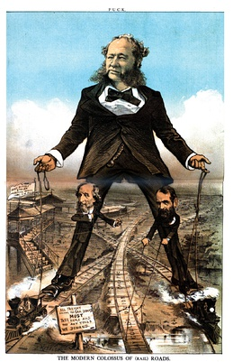 This 1879 cartoon depicts powerful railroad barons controlling all the rail system.