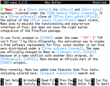 Nano text editor running in the xterm terminal emulator
