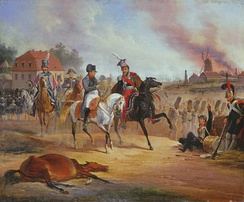 A bloated dead horse on the ground in front of Napoleon and Poniatowski at the Battle of Leipzig, painted by January Suchodolski