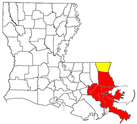 Location of the New Orleans–Metairie–Bogalusa CSA and its components:   New Orleans–Metairie–Kenner Metropolitan Statistical Area   Bogalusa Micropolitan Statistical Area