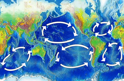 Map showing 5 circles. The first is between western Australia and eastern Africa. The second is between eastern Australia and western South America. The third is between Japan and western North America. Of the two in the Atlantic, one is in hemisphere.