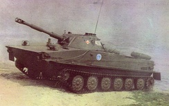 Polish PT-76 amphibious light tank coming out of the water