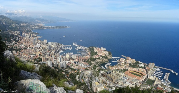 Panoramic view of Monaco from the Tête de Chien in 2017