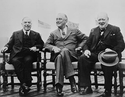 Mackenzie King, Franklin D. Roosevelt and Winston Churchill at the 1943 Quebec Conference.