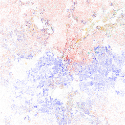 Map of racial distribution in Atlanta, 2010 U.S. Census. Each dot is 25 people: White, Black, Asian Hispanic, or Other (yellow)