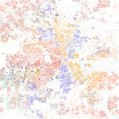 Map of ethnic distribution in Houston, 2010 U.S. Census. Each dot is 25 people: White, Black, Asian, Hispanic or Other (yellow)