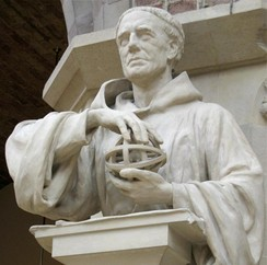 Roger Bacon (c. 1214–1294), statue from the 19th century in the Oxford University Museum of Natural History