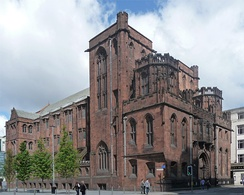 The Grade-I listed John Rylands Library on Deansgate