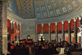 U.S. House of Representatives chamber before 1858, when it moved to the New House Chamber currently in use, shown in the 1823 Samuel F.B. Morse's painting House of Representatives.