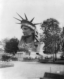 The completed head of the Statue of Liberty was showcased.