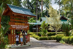 The Sepilok Orangutan Rehabilitation Centre main gateway.