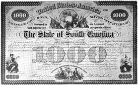 Bond certificate for the state of South Carolina issued in 1873 under the state's Consolidation Act.