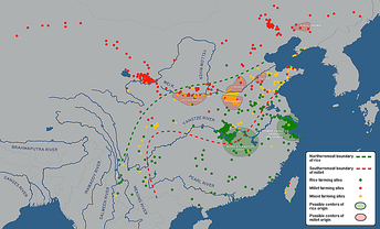 Spatial distribution of rice, millet and mixed farming sites in Neolithic China (He et al., 2017)[44]