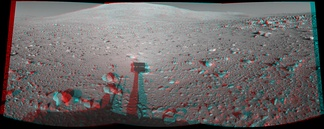 This image, captured on 8 June 2004, is an example of a composite anaglyph image generated from the stereo Pancam on Spirit, one of the Mars Exploration Rovers. It can be viewed stereoscopically with proper red/cyan filter glasses. A single 2D version is also available. Courtesy NASA/JPL-Caltech. 3D red cyan glasses are recommended to view this image correctly.