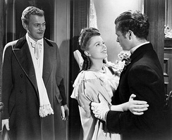 Joseph Cotten, Anne Baxter and Tim Holt in The Magnificent Ambersons (1942)