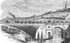 The opening procession of the Stockton and Darlington Railway crosses the Skerne bridge