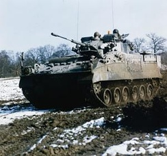 A Warrior tracked armoured vehicle as used by the 13 mechanised infantry battalions of the 1st, 3rd and 4th Armoured Divisions of the British Army of the Rhine during the period 1988–1994