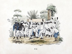 Funeral at slave plantation during Dutch colonial rule, Suriname. Colored lithograph printed circa 1840–1850, digitally restored.