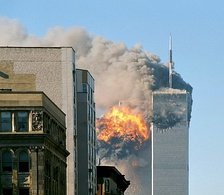Airplane crashes and terrorist attacks are examples of man-made disasters: they cause pollution, kill people, and damage property. This example is of the September 11 attacks in 2001 at the World Trade Center in New York City, New York.