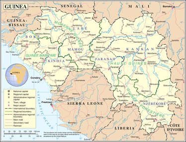 A map showing Guinea's cities and administrative divisions
