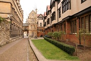 A view of Logic Lane toward the High Street from within University College, Oxford.