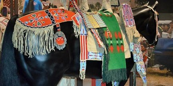 Representation of Crow horse regalia, ca. 1880s with cradleboard on exhibit at NMAI