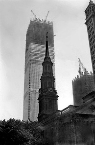 The first One World Trade Center under construction in 1971