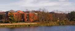 The Westport Library taken from the opposite side of the Saugatuck River.