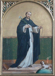 A painting of Saint Dominic with a dog bearing a torch at his side