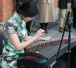 Guzheng, a type of Chinese instrument.