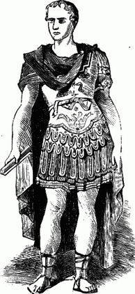 Julius Caesar is depicted in this drawing wearing pteruges beneath his lorica.