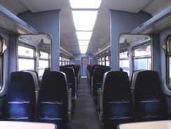 The interior of a First Great Western refurbished Class 153
