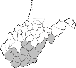 Counties of West Virginia still held by the Confederacy as of Feb. 1863