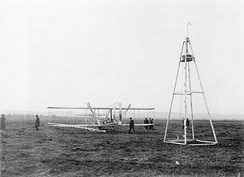 Wright Model A Flyer flown by Wilbur 1908–1909 and launching derrick, France, 1909