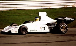 Reutemann at the wheel of the Brabham BT44 during the 1974 Race of Champions at Brands Hatch.