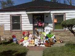 Michael Jackson's childhood home in Gary, Indiana, shortly after the singer's death in 2009
