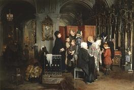 А. Корзухин. «Перед исповедью» (1877). Изображен интерьер Никольского морского собора в Санкт-Петербурге[2]