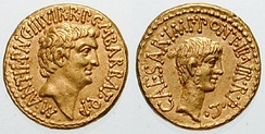 Roman aurei bearing the portraits of Mark Antony (left) and Octavian (right), issued in 41 BC to celebrate the establishment of the Second Triumvirate by Octavian, Antony and Marcus Lepidus in 43 BC